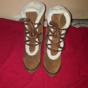 MIA Suede and fur lace-up boots